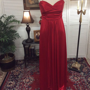 Lady In Red Silky Evening Prom Party Pageant Gown